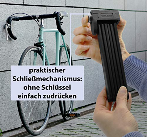 KOHLBURG sicheres Faltschloss mit bequemen Schließmechanismus zum Zudrücken – Fahrradschloss 89cm lang – Klappschloss 670g leicht aus gehärtetem Spezialstahl für E-Bike & Fahrrad - 2