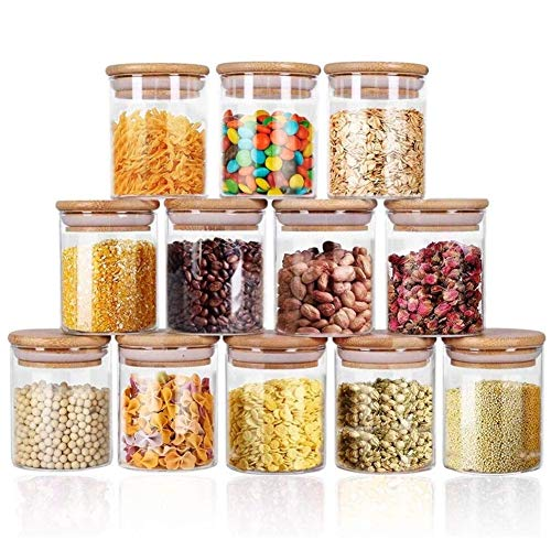 Glass Jars Set 8.5oz, Yibaodan 12 Set Spice Jars with Bamboo Airtight Lids and Labels, Food Cereal Storage Containers for Home Kitchen Tea Herbs Coffee Flour Herbs Grains