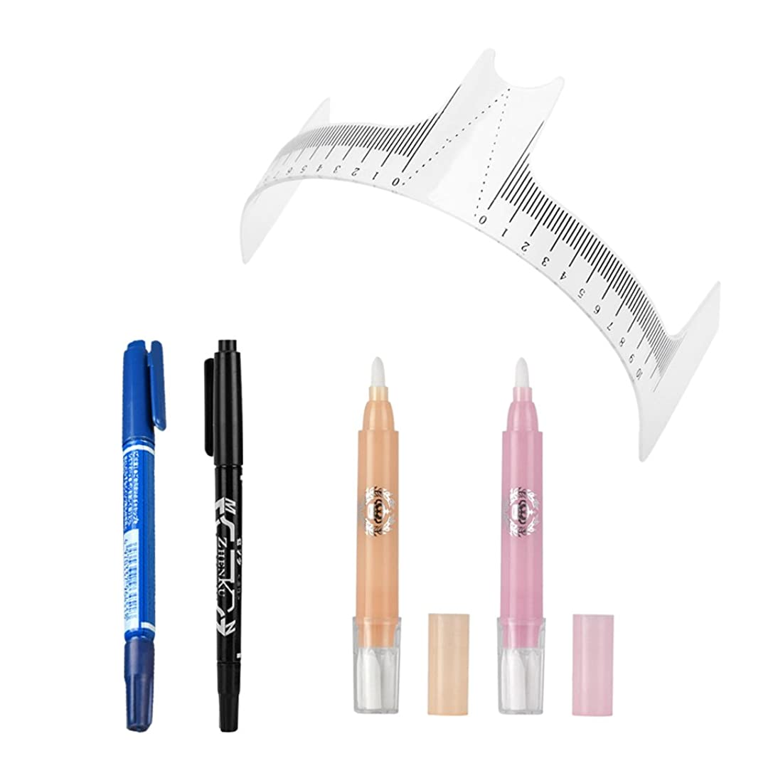 SM SunniMix 2pcs Black/Blue Oily Marking Pen Scribe Tools, 2pcs Magic Eraser Pens Skin Mark Remover, Eyebrow Stencil Ruler Caliper Kit for Tattoo Piercing Permanent Makeup - 4# hojr270676374238