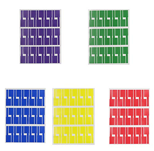 Royee 5 Sheets Cable Labels Multi Color Waterproof Tear Resistant Flexible Write on Stickers for Office Work Home School Cable Organization Cord Identification Laser Printer