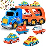 Rubikliss Car Toys for 1 2 3 4 5 6 Year Old Toddler Kids Boys and Girls, 5 in 1 Big Carrier Car Set Real Sound & Bright Flashing Light, Push and Go Car Play Vehicles Toys