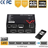 UltraHD HDMI 2.0 Switch HDR HDCP 2.2, 4K@60Hz/30Hz 4:4:4 1080P@120Hz Selector IR Remote (4 In to 1 out), 18Gbps 4 Port Switcher Splitter Powered, 3D, Multi HDMI Hubs Support PS4 Xbox One Series