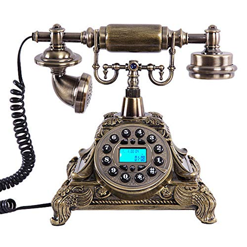 JFF Teléfono Antiguo de imitación de Estilo Europeo, función FSK/DTMF, teléfono Retro con Cable con identificador de Llamadas, teléfono Vintage