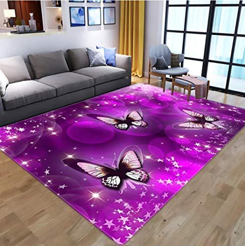 Alfombra De Impresión 3D De Mariposa Espacial Púrpura De Fantasía, Alfombra Antideslizante Para Sala De Estar, Alfombra De Poliéster Exquisita Para Estudio 120 * 160 Cm