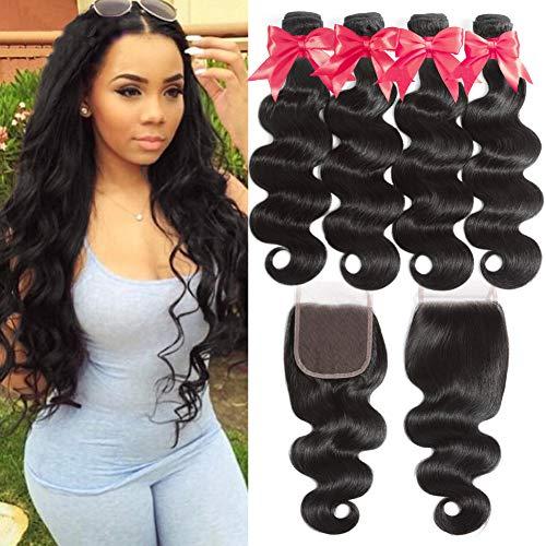 Flady 10A Brazilian Body Wave Hair 4 Bundles with Closure 100% Unprocessed Virgin Human Hair Bundles with 4x4 Free Part Closure (18 20 22 24+16)