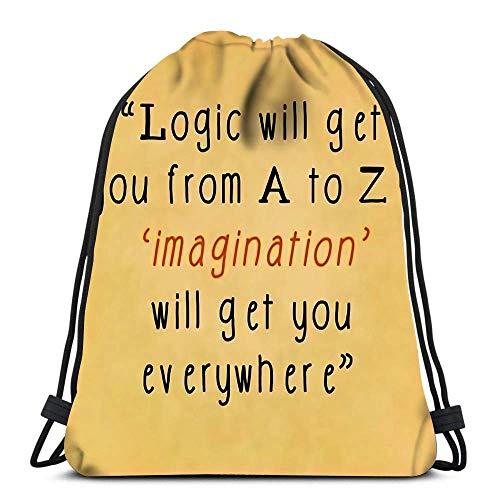 Drawstring Backpack Inspirational Quote Words Von Albert Einstein auf Notizpapier Wäschesack Gym Yoga Bag 36 x 43 cm / 14,2 x 16,9 Zoll
