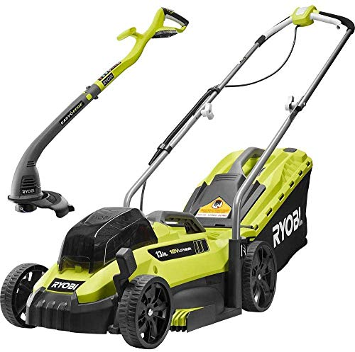 RYOBI P1140S-2X 13 in. ONE+ 18-Volt Lithium-Ion Battery Walk Behind Push...