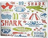 mengliangpu8190 Aluminum Sign, Retro Sign Vintage Decorative Tin Sign Metal Plate Poster Plaque Retro Shark Collection 12' x 18' Metal Sign