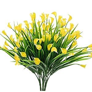 4 Piezas Calla Lily Artificial Plantas Falsas Falsas Resistentes a los Rayos UV Plantas de plástico sintético Interior…