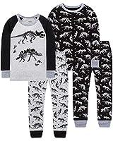 Boys Dinosaurs Pajamas Kids Children Sleepwear Baby Girls Clothes 4 Pieces Cotton Pants Set 6t