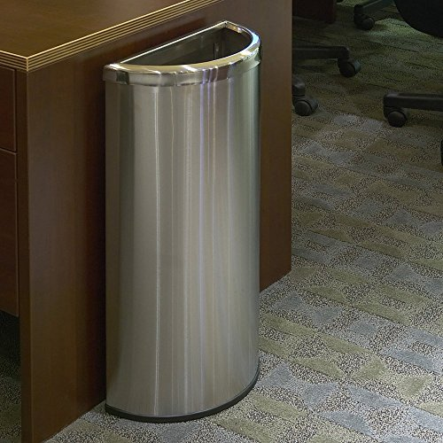 Commercial Zone Waste Container, Stainless Steel, 8 Gallon - Half Moon
