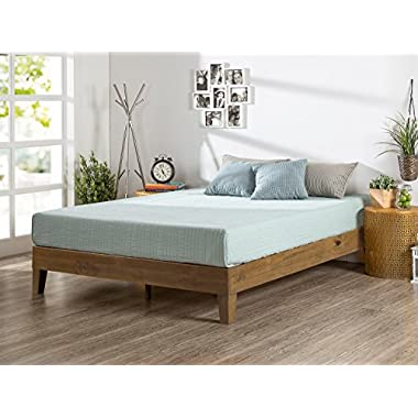 Zinus 12 Inch Deluxe Wood Platform Bed/No Boxspring Needed/Wood Slat Support/Rustic Pine Finish, King