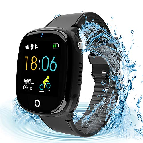 Kids Smartwatch with GPS Tracker, Kids Smart Watch Phone Waterproof Sports Watch 1.44'' HD Touch Screen Anti-Lost SOS Call Phone with Alarm Clock Camera Game Boys Girls Christmas Birthday Gift(Black)