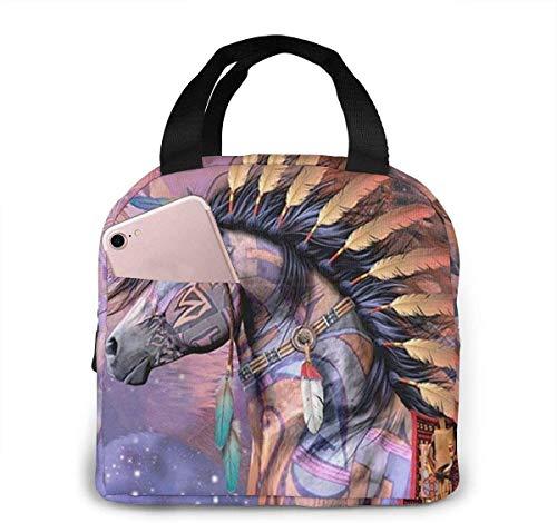 Bolsa de almuerzo de moda con caballos de guerra nativos americanos, bolsa térmica aislada resistente al agua con bolsillo para oficina / escuela / exterior-Negro-Talla única