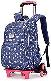 B/H Schultrolleys Mädchen Kindertrolley,Trolley-Schultasche für Grundschüler, wasserdichte Handbremse mit großer Kapazität für Schüler - Dark Blue Six Round,Schultrolley Trolley Rucksack