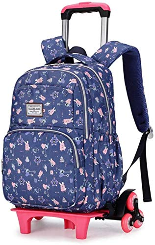 B/H Lovely Girls Waterproof Nylon School Backpack,Trolley school bag for primary school students, large-capacity waterproof hand drag for students-Dark Blue Six Round,Wheeled School Backpack