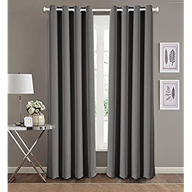 20 Lakes 63  Solid Color Blackout Curtain Panel Pair with Grommet Top (Charcoal)