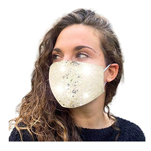 Drecode Sequins Face Masks Gold Anti Pollution Dust Mask Adjustable Bling Masquerade Mask Cotton Breathable Reusable Party Christmas Halloween Nightclub Jewelry for Women and Girls (Gold)