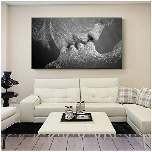 HANSHUIHONG Pareja Beso Abstracto Arte de la Pared en Lienzo Impresiones Moderno Dulce Beso hogar Cuadros Decorativos para la decoración de la Sala Lienzo pintura-60x120 cm sin Marco