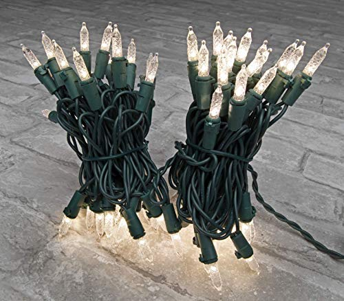 DecoBrite LED Faceted Mini Green String Lights 18ft. (5.5m) 70 ct. Warm White on Green Wire Outdoor Indoor Decorations for Christmas Tree, Patio, Garden, Room