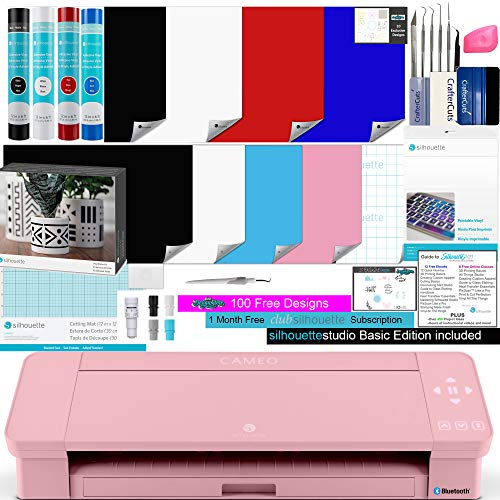 Silhouette Cameo 4 Pink Bundle with 4 Rolls of Vinyl, 8 Sheets of Printable Vinyl, Vinyl Starter Kit, 24 Pack of Pens, Vinyl Tool Kit, 120, and Access to Ebooks, Tutorials, Classes.
