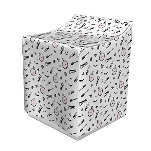 ABAKUHAUS Gekritzel Waschmaschienen und Trockner, Mode Werkzeuge in der Hand gezeichnete Illustration wie Lippenstifte Parfüm Formen, Bezug Dekorativ aus Stoff, 70x75x100 cm, Koksgraue und Rose