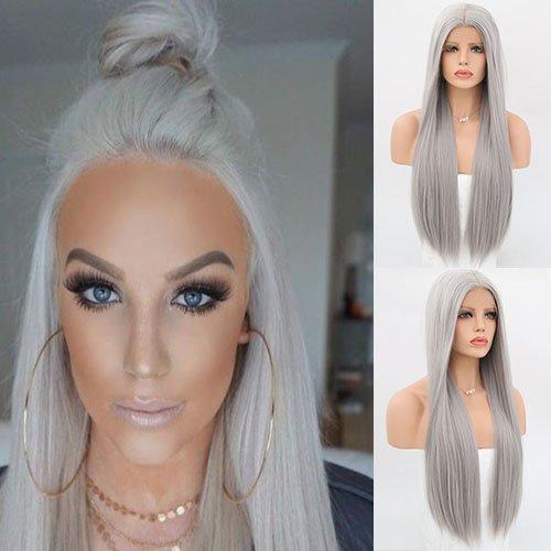 Blue Bird Largo sedoso recto gris pelo color sintético Encaje frente Pelucas Glueless resistente al calor para las mujeres aspecto natural reemplazo peluca