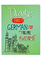 NobleWorks - 封筒付きBig Gratitudeカード (8.5 x 11インチ) - ジャーマンThank Youノートカード - Danke You're Awesome J3531TYG-US