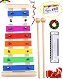 Precisely Tuned Wooden Xylophone for Kids & Harmonica Set - Premium Kids Musical Instruments Set Percussion...