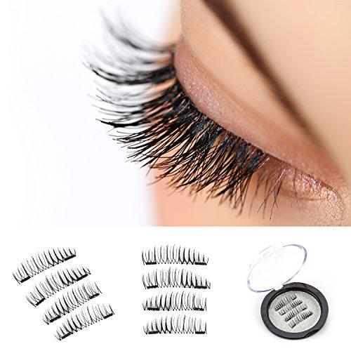 VereBeauty Long Dual Magnetic False Eyelashes, Natural Look, Most Glamorous 3D Ultra Soft, Natural Look, Glue Free Handmade Reusable False Eyelashes (1 Pair/4 Pcs)