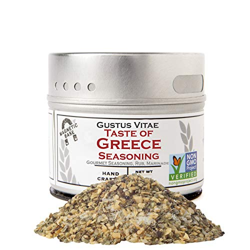 Gustus Vitae - Taste of Greece - Gourmet Seasoning - Artisan Spice Blend - 2.7oz - Non GMO Verified - Magnetic Tin - Small Batch - Hand Packed