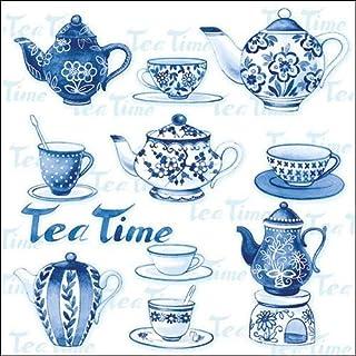 4 servilletas de papel para decoupage – 3 capas, 33 x 33 cm – Tea Moments (4 servilletas individuales para manualidades y servilletas)