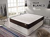 DESCANSIN Pack Colchón Antiácaros + Canapé abatible de Madera – Cama matrimonial con canapé de 28cm de Alto (Blanco, 90x190)