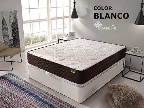 DESCANSIN Pack Colchón Antiácaros + Canapé abatible de Madera – Cama matrimonial con canapé de 28cm de Alto (Cerezo, 135x190)