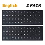 [2 Pack] Universal English Keyboard Stickers, Replacement English Keyboard Stickers with Black Background and White Lettering, Each Unit: 0.43' x 0.51' -Matte