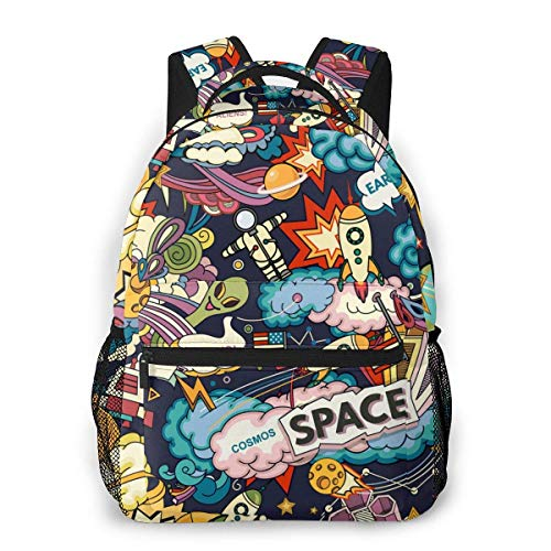 Lawenp School Backpacks Cosmos Pattern for Teen Girls&Boys 16 Inch Backpack Student Bookbags Laptop Casual Rucksack Travel Backpack