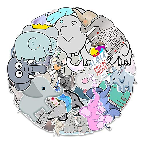 XIAMU Dibujos Animados Elefante Animal Graffiti Pegatina Caja Cuaderno Taza de Agua monopatín Pegatina Decorativa 50 Piezas