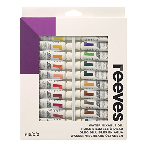 Reeves Water Mixable Oil Color Paint 10ml Tubes, Set of 24, Colour