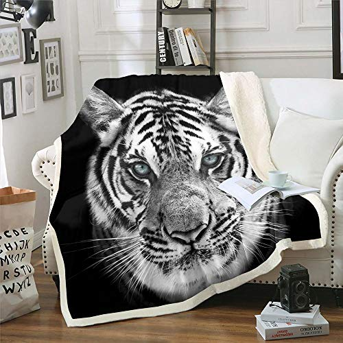 Tiger Bed Throws for Kids Boys Teens White Wildlife Tiger Print Flannel Fleece Blanket for Couch Sofa Wild Animal Theme Throw Blanket Cozy Luxury Bed Blanket, King Size (87 x 94 Inches)