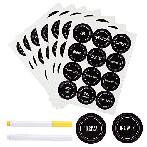 yumcute Gewürzetiketten selbstklebend 288 schwarze Etiketten mit 2 Stiften wasserdicht Runden Küchenaufkleber Aufkleber zum Beschriften 40x40mm