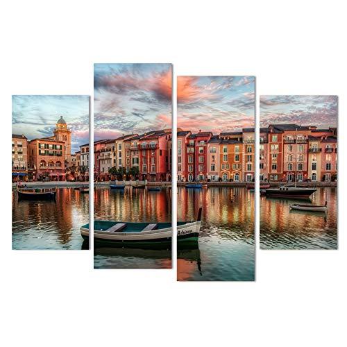 HOMEDCR väggmålningar Hd heminredning kanvas målning affisch 4 delar/st sjöstrand skymning landskap väggkonst vardagsrum tryckta bilder