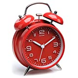 Peakeep 4 inches Twin Bell Alarm Clock with Stereoscopic Dial, Backlight, Battery Operated Loud Alarm Clock(Red)