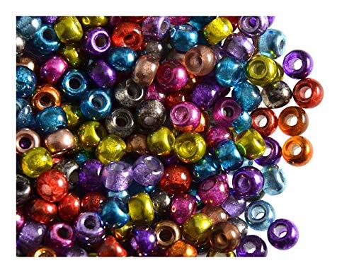 Estrella 50 Stück Pony Bead - Tschechische gepresste Glasperlen in Form Einer Walze 5,5mm mit einem großen Loch, Semi-Apollo Mix