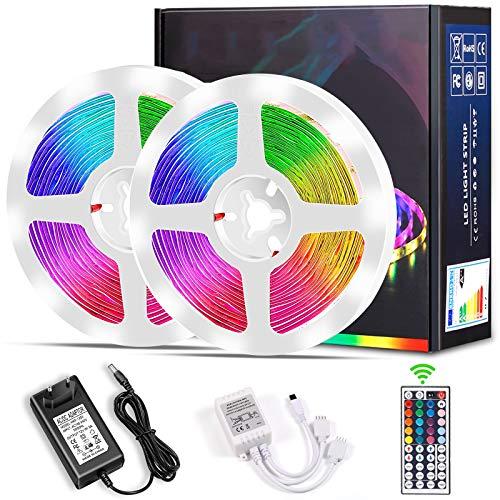 LED Strip, Micacorn 10M 300LEDs RGB LED Streifen SMD5050 Strip Licht Kit mit IR 44-Tastenfernbedienung, 12V 5A-Netzteil für Schlafzimmer Zimmer Wohnküche