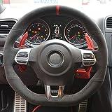 YHDNCG Coprivolante in Alcantara Nero Cucito a Mano, per Volkswagen Golf 6 GTI MK6 VW Polo GTI Scirocco R Passat CC R-Line 2010
