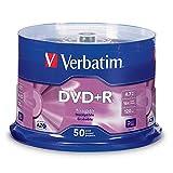 Verbatim DVD+R 4.7GB 16X AZO Recordable Media Disc - 50 Disc Spindle, Silver - 95037