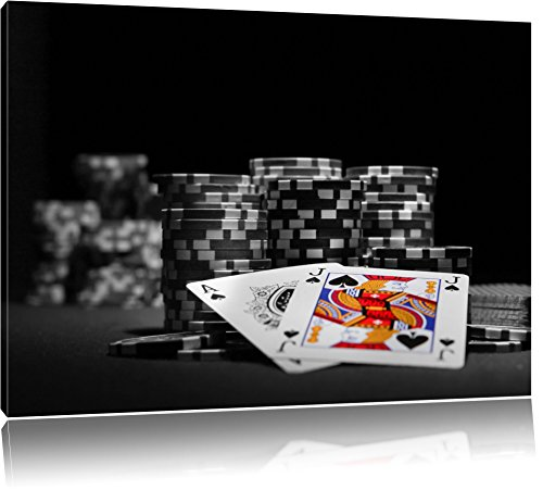 Pokertisch mit Pokerchips und Karten schwarz/weiß Format: 100x70 auf Leinwand, XXL riesige Bilder fertig gerahmt mit Keilrahmen, Kunstdruck auf Wandbild mit Rahmen, günstiger als Gemälde oder Ölbild, kein Poster oder Plakat