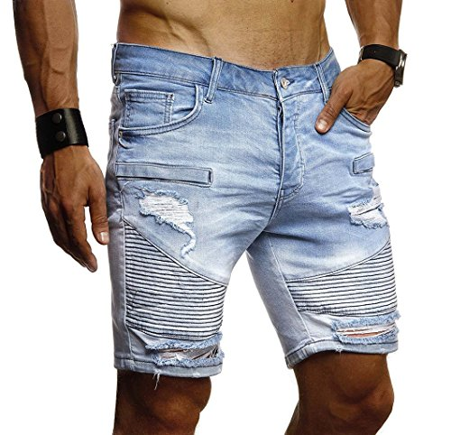 Leif Nelson Herren Jeans Shorts Sommer Kurze Jogger Hose Jeanshose Chinos Cargo Bermuda Stretch Slim Fit LN1663; W31; Hell Blau