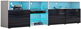 MEBLE FURNITURE & RUGS TV Stand Roma Matte Body High Gloss Doors Modern TV Stand LED...