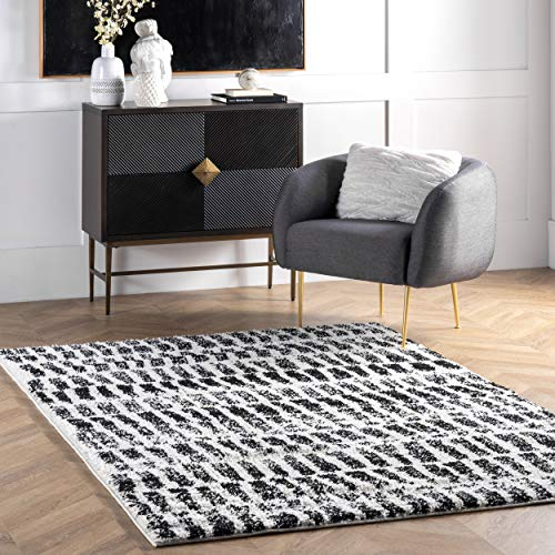 nuLOOM Orchid Treaded Striped Shag Area Rug, 4' x 6', Black And White